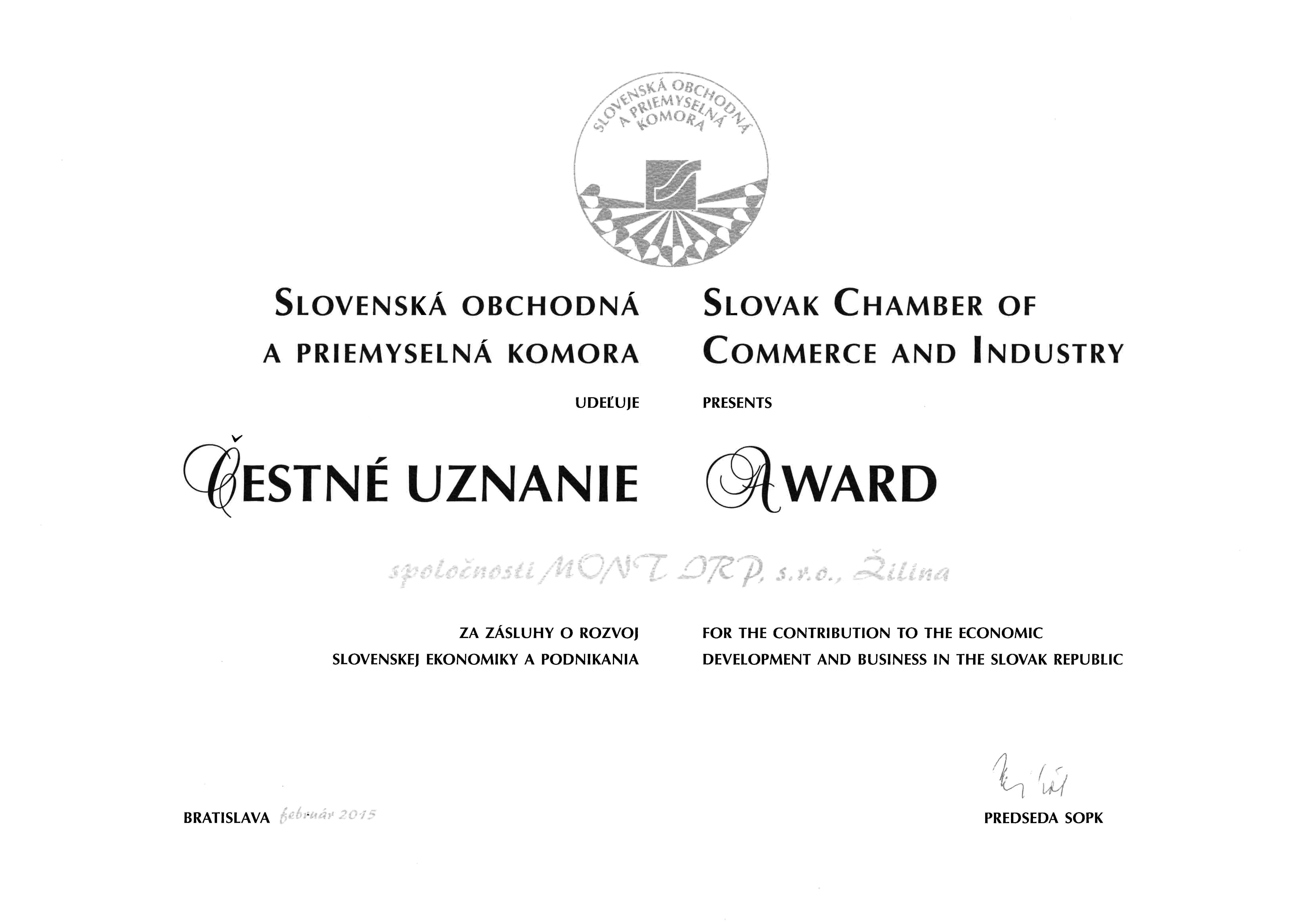 Čestné uznanie -Slovenská obchodná komora 2015