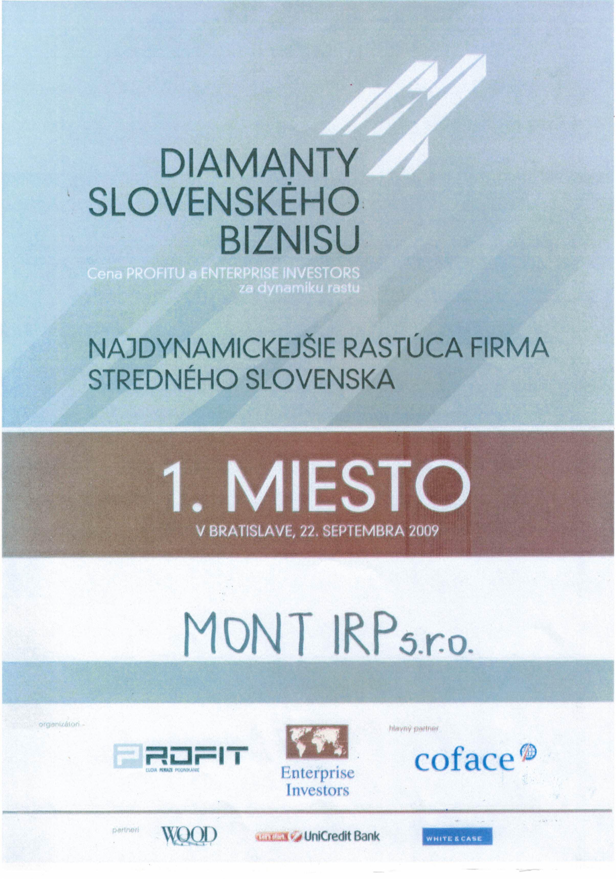 1.miesto-Diamanty Slovenkého biznisu-2009