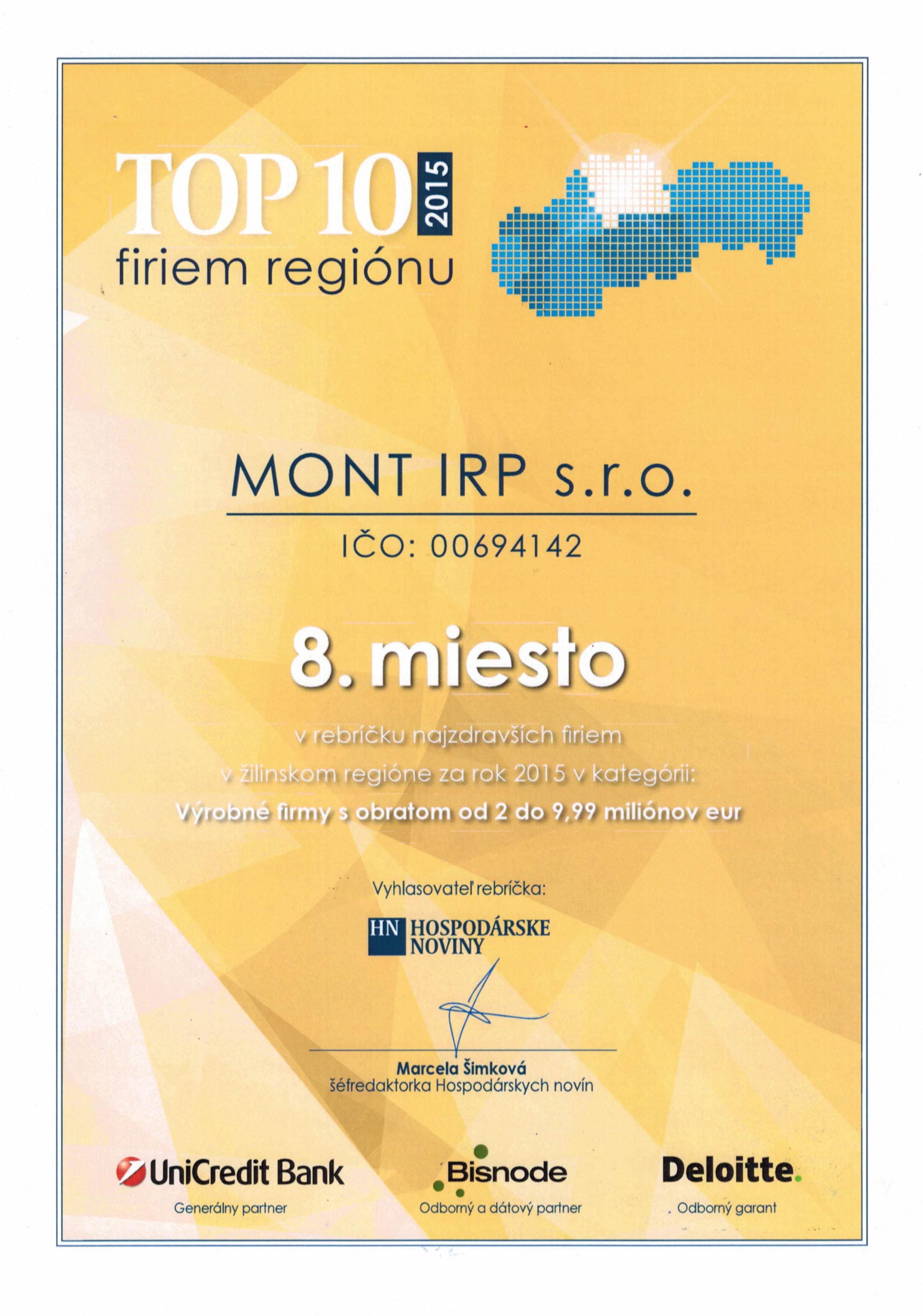 8.miesto-TOP10-najzdravšie firmi ŽA reg - 2015