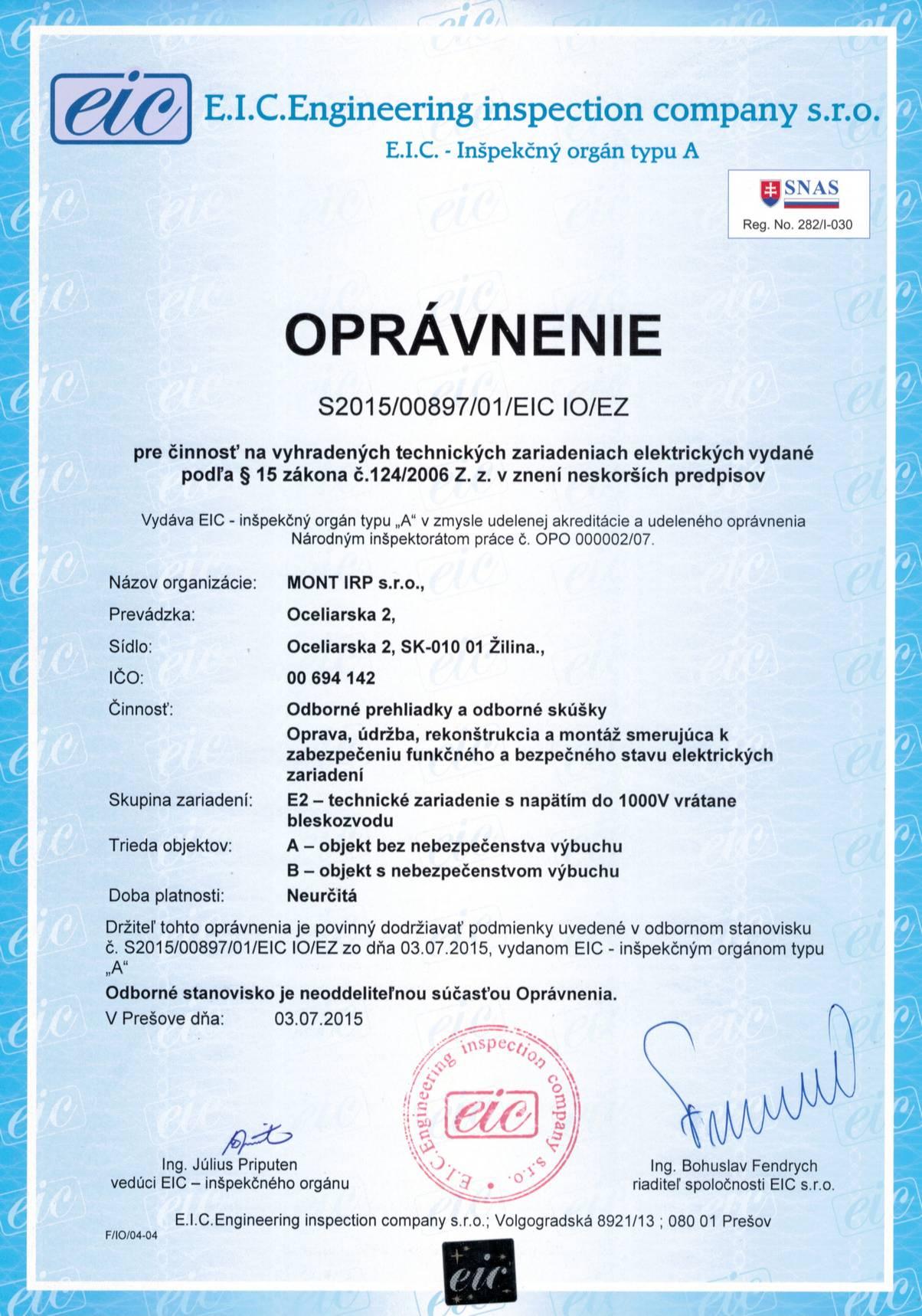Oprávnenie-S2015_00897_01_EIC IO_EZ-Výhr.tech.zar.elektrické