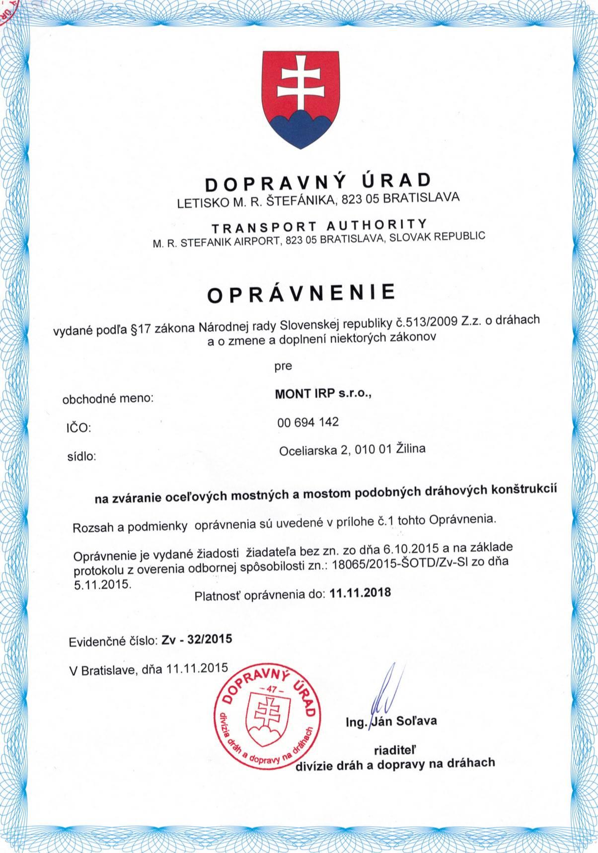 Oprávnenie-ZV-32-2015-Na zváranie oceľ.mostov-EXC4-UPRŽD-do11.11.2018-Dp..._Page_1